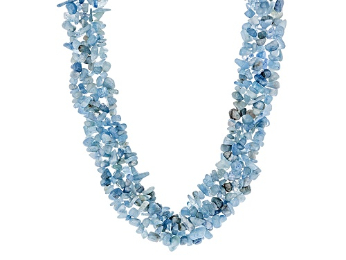 Photo of Free-Form Aquamarine Chip Rhodium Over Sterling Silver Necklace - Size 19