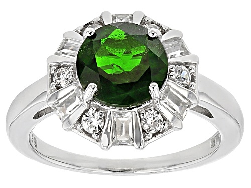 Photo of 2.04ct Round Russian Chrome Diopside With .66ctw Round And Baguette White Zircon Silver Ring - Size 12