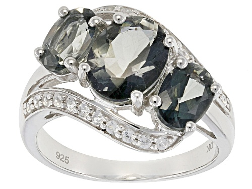 Photo of 2.81ctw Oval Green Labradorite With .37ctw Round White Sterling Silver Ring - Size 11