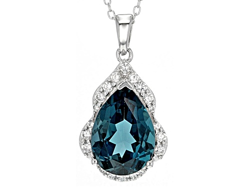 Photo of 5.72ct Pear Shape London Blue Topaz And .41ctw Round White Zircon Sterling Silver Pendant With Chain