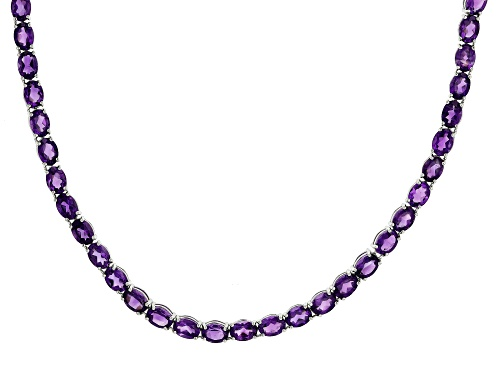 Photo of 45ctw Oval Amethyst Rhodium Over Sterling Silver Tennis Necklace - Size 18