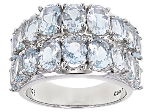 Photo of 4.85ctw Aquamarine Oval With .45ctw Round White Zircon Rhodium Over Sterling Silver Band Ring - Size 7