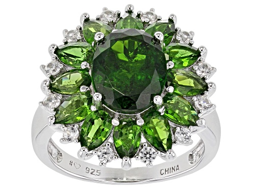Photo of 5.17ctw Mixed Shape Chrome Diopside 0.47ctw Round White Zircon Rhodium Over Sterling Silver Ring - Size 8