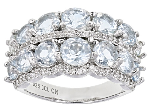 Photo of 3.21ctw Round Aquamarine With 0.38ctw Round White Zircon Rhodium Over Sterling Silver Band Ring - Size 8