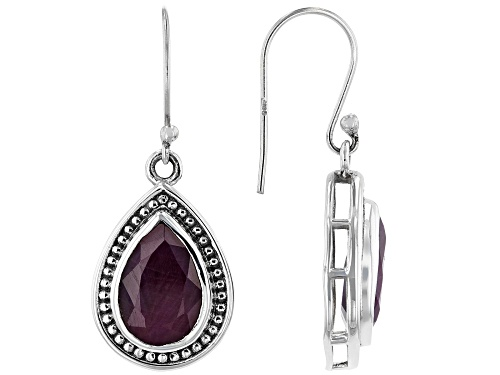 Photo of 8.00ctw Pear Shaped Ruby Sterling Silver Earrings