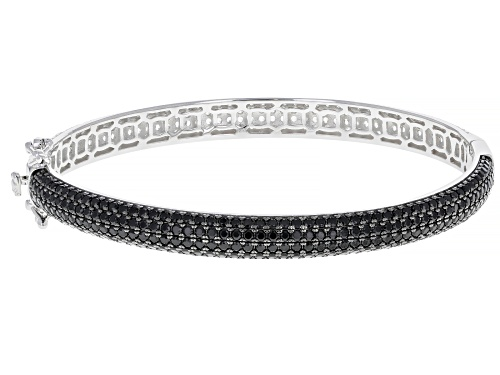 Photo of 3.00ctw Black Spinel With 4.50ctw Round White Zircon Rhodium Over Sterling Silver Bangle Bracelet - Size 7.25