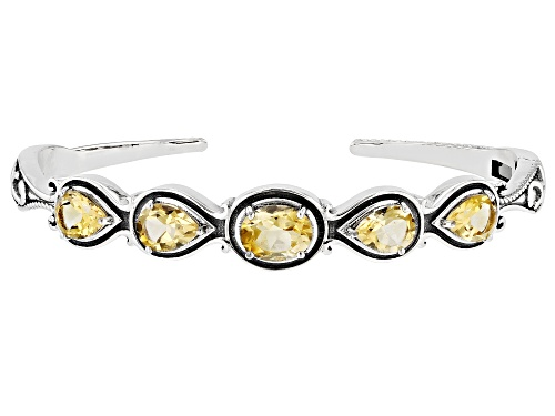 Photo of 4.00ctw Mixed Shape Ctirine Sterling Silver Cuff Bracelet - Size 7