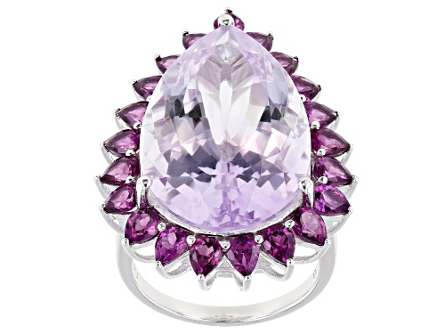 Photo of 19.90ctw Pear Shape Rose de France Amethyst With 4.00ctw Rhodolite Rhodium Over Sterling Silver Ring - Size 7