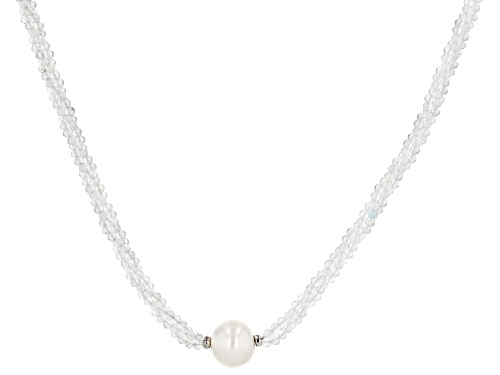 Photo of 11mm Cultured Freshwater Pearl With Approximately 35.00ctw Topaz Rhodium Over Silver Necklace - Size 17