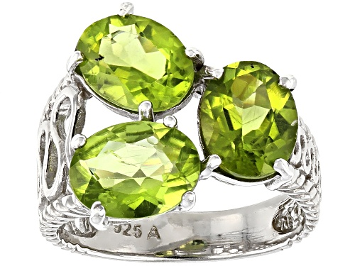 Photo of 5.00ctw Oval Peridot Rhodium Over Sterling Silver 3-Stone Ring - Size 7