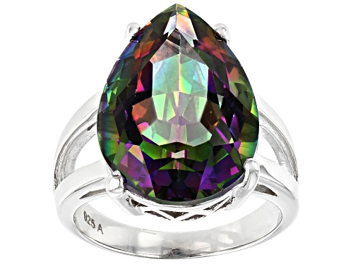 Photo of 11.00ct Pear Multi Color Quartz Rhodium Over Sterling Silver Ring - Size 8