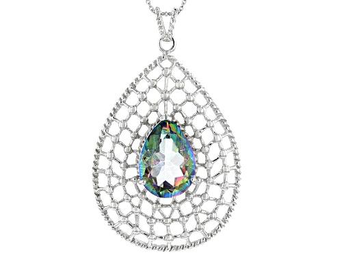 Photo of 11.00ctw Pear Multi Color Quartz Rhodium Over Sterling Silver Pendant With Chain
