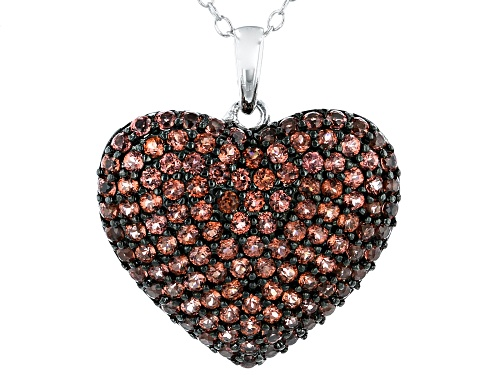 Photo of 1.75ctw Round Red Garnet Rhodium Over Sterling Silver Heart Pendant With Chain