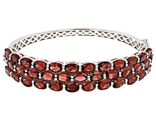 Photo of 27.00ctw Oval Red Garnet Rhodium Over Sterling Silver Bracelet - Size 7