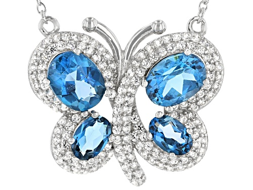 Photo of 3.50ctw Oval London Blue Topaz With 0.85ctw White Zircon Rhodium Over Silver Butterfly Necklace - Size 18