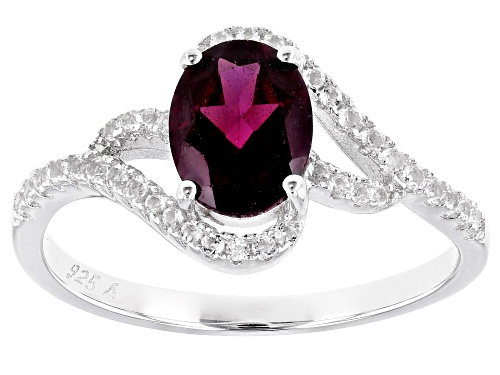 Photo of 1.35ctw Rhodolite With 0.46ctw White Topaz Rhodium Over Sterling Silver Ring - Size 9