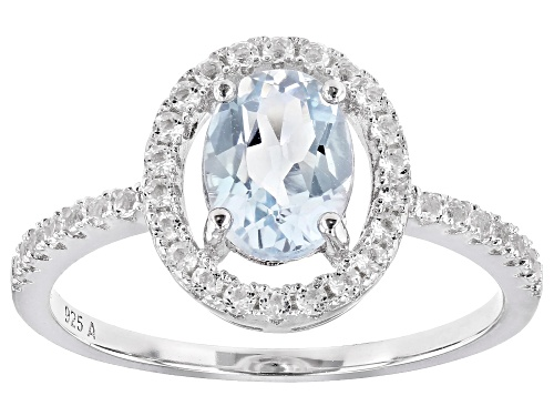 1.4ctw Oval Sky Blue Topaz With 0.6ctw White Topaz Rhodium Over Sterling Silver Ring - Size 8