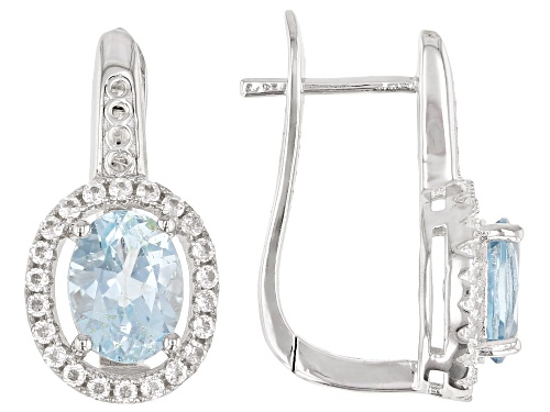 Photo of 2.8ctw Sky Blue Topaz With 0.80ctw Round White Topaz Rhodium Over Sterling Silver Earrings