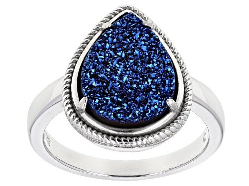 14x10mm Pear Shape Royal Blue Drusy Quartz Rhodium Over Sterling Silver Ring - Size 10