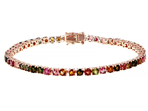 Photo of 6.00ctw Multi Tourmaline Pink Rhodium Over Silver Sterling Bracelet - Size 7.5