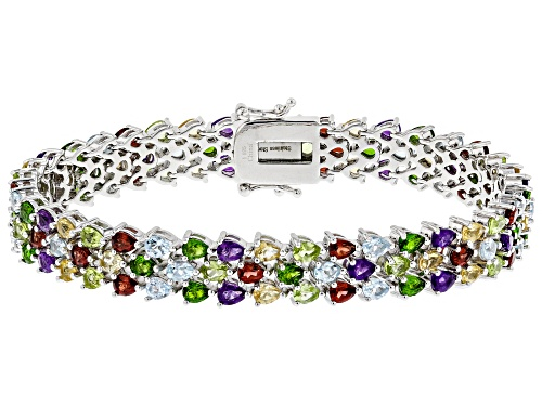 Photo of 11.50ctw Pear Multi Gemstone Rhodium Over Sterling Silver Bracelet - Size 8