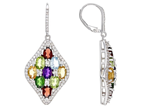 Photo of 8.15ctw Oval Multi Gemstone With 2.50ctw Round White Zircon Rhodium Over Sterling Silver Earrings