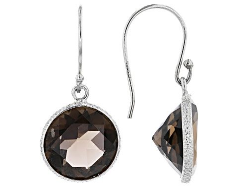 Photo of 11.00ctw Round Smoky Quartz Rhodium Over Sterling Silver Dangle Earrings