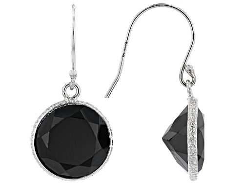 Photo of 12.00ctw Round Black Spinel Rhodium Over Sterling Silver Dangle Earrings