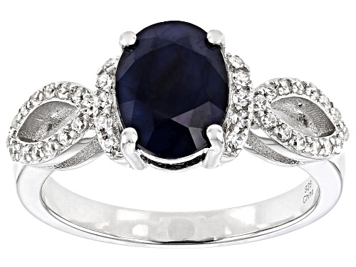 Photo of 1.85ctw Oval Sapphire With 0.35ctw Round White Zircon Rhodium Over Sterling Silver Ring - Size 8