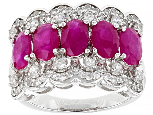 Photo of 2.25ctw Oval Burma Ruby With 0.65ctw Round White Zircon Rhodium Over Sterling Silver Ring - Size 8