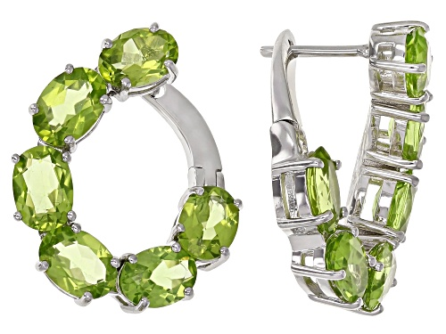 6.00ctw Oval Green Peridot Rhodium Over Sterling Silver Earrings