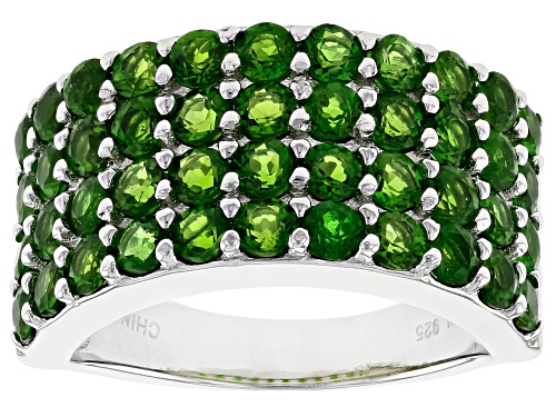 Photo of 2.86ctw Round Chrome Diopside Rhodium Over Sterling Silver Ring - Size 6