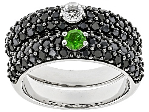 Photo of 2.55ctw Chrome Diopside, White Zircon, And Black Spinel Rhodium Over Sterling Silver Ring Set Of 2 - Size 7