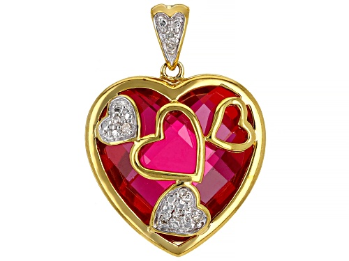 Photo of 14.10ct Lab Ruby with .03ctw White Diamond Accent 18k Yellow Gold Over Sterling Silver Pendant