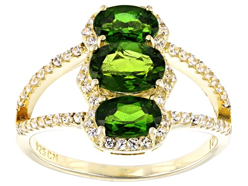 Photo of 1.74ctw Chrome Diopside With 0.58ctw White Zircon 18k Yellow Gold Over Sterling Silver Ring - Size 7