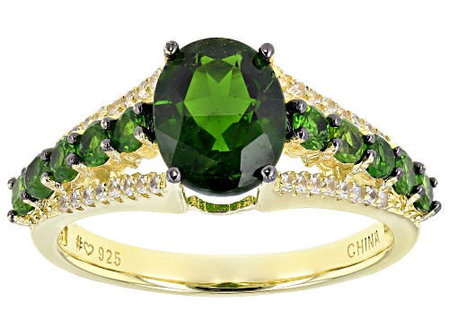 Photo of 2.65ctw Chrome Diopside With 0.28ctw White Zircon 18k Yellow Gold Over Sterling Silver Ring - Size 8