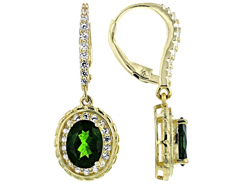 Photo of 2.50ctw Chrome Diopside With 1.18ctw White Zircon 18k Yellow Gold Over Sterling Silver Earrings