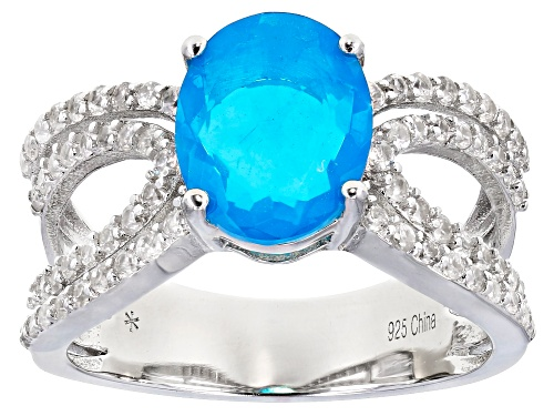 Photo of 1.10ctw Blue Opal With 0.75ctw Round White Zircon Rhodium Over Sterling Silver Ring - Size 8