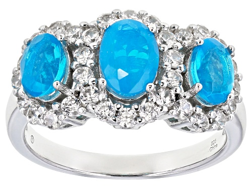 Photo of 0.70ctw Blue Ethiopian Opal With 0.90ctw Round White Zircon Rhodium Over Sterling Silver Ring - Size 8
