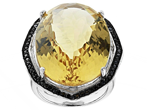 Photo of 23ctw Citrine With 0.45ctw Round Black Spinel Rhodium Over Sterling Silver Statement Ring - Size 7