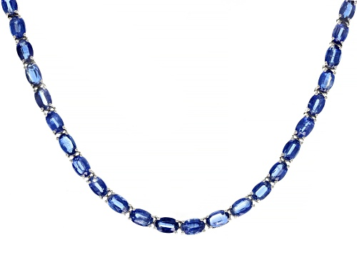 Photo of 29.53ctw Oval Kyanite Rhodium Over Sterling Silver Tennis Necklace - Size 18