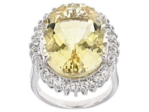 Photo of 16.00ctw Oval Citrine With 0.5ctw Round White Topaz Rhodium Over Sterling Silver Ring - Size 7