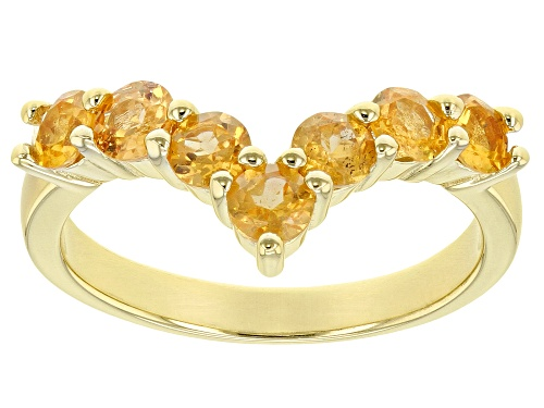Photo of 1.50ctw Round Mandarin Garnet 18K Gold Over Sterling Silver Chevron Band Ring - Size 8