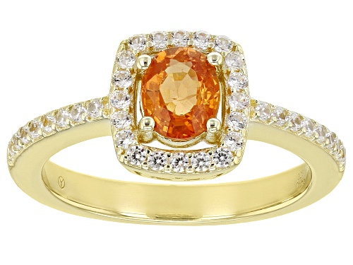 Photo of 0.85ctw Oval Mandarin Garnet With 0.45ctw White Zircon 18K Yellow Gold Over Sterling Silver Ring - Size 9