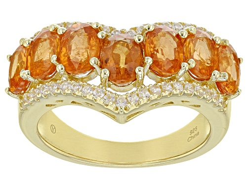 Photo of 3.50ctw Oval Mandarin Garnet With 0.45ctw Round White Zircon 18K Gold Over Sterling Silver Ring - Size 7