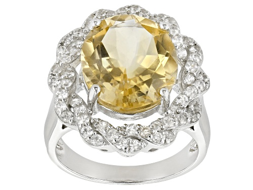 Photo of 5.50ctw Citrine With 1.06ctw White Zircon Rhodium Over Sterling Silver Ring - Size 7