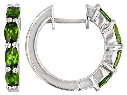 Photo of 0.25ctw Oval Chrome Diopside Rhodium Over Sterling Silver Hoop Earrings