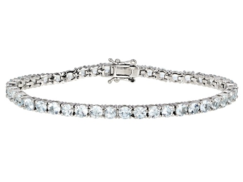 Photo of 11.28ctw  Round Aquamarine Rhodium Over Sterling Silver Tennis Bracelet - Size 7.25