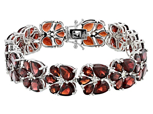 Photo of 44.50ctw Pear Shape Garnet With 1.30ctw Round White Zircon Rhodium Over Sterling Silver Bracelet - Size 7.25