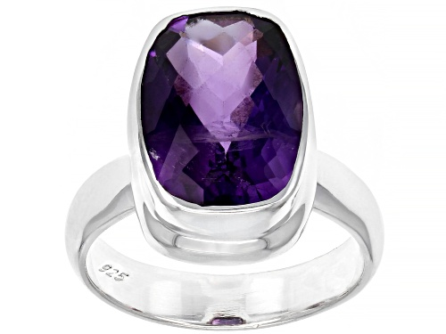 Photo of 5.40ct African Amethyst Rhodium Over Sterling Silver Ring - Size 7